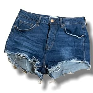 FOREVER 21 BUTTON FLY DISTRESSED DENIM SHORTS 27